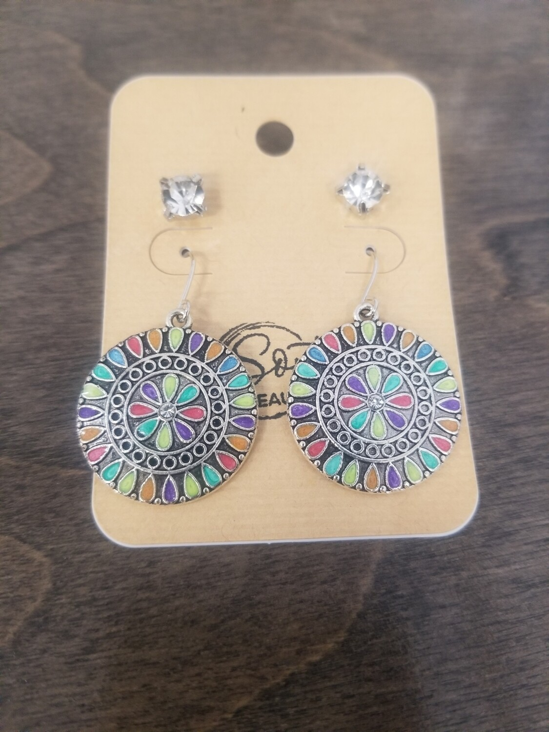 Silver Full Round Multi Color Earrings