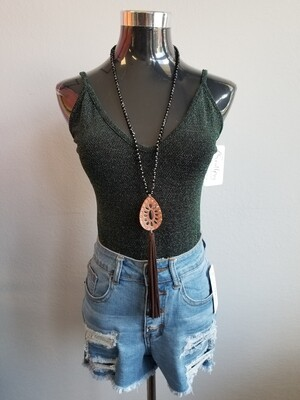 Glitter Knitted Body Top Size L