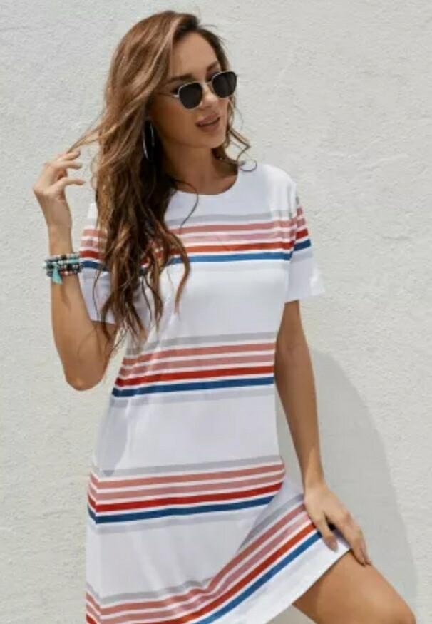 White & Stripped Mini Dress Size XL
