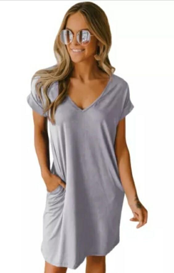 Gray V Neck Shirt Dress Size 2XL