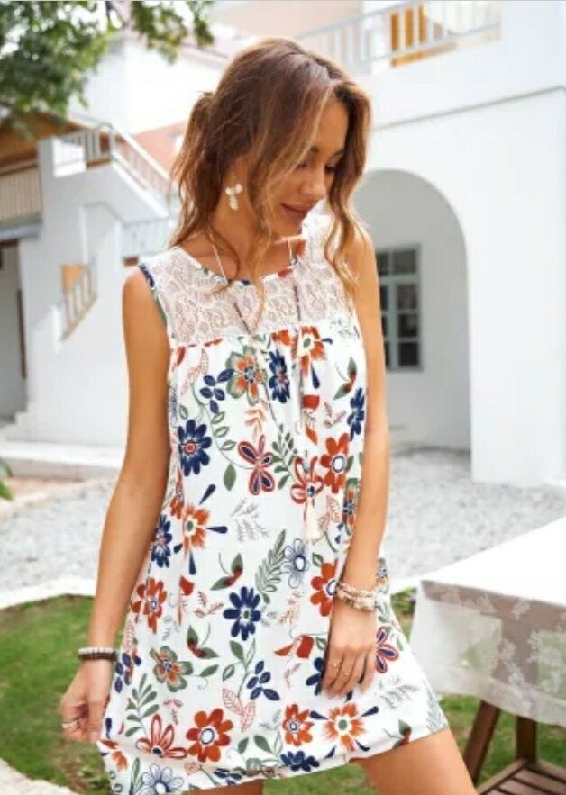 White & Floral Lace Dress
