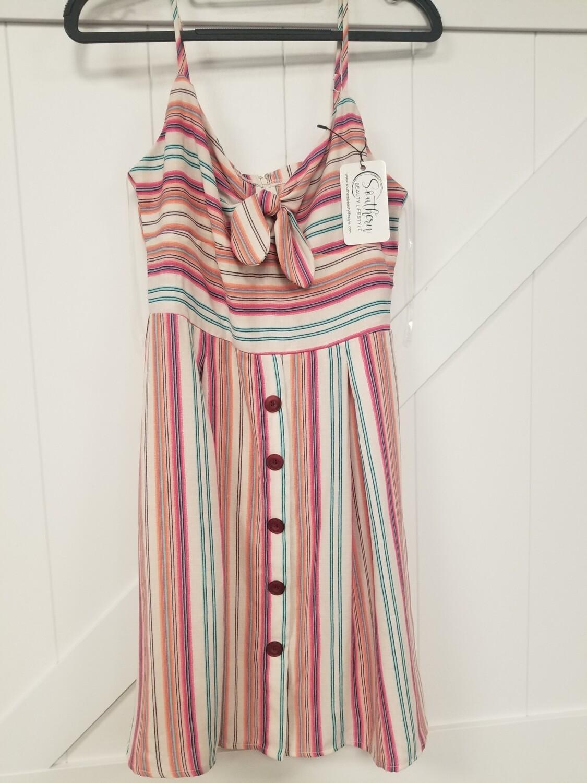 Pink & White Spaghetti Strap Dress Size 9