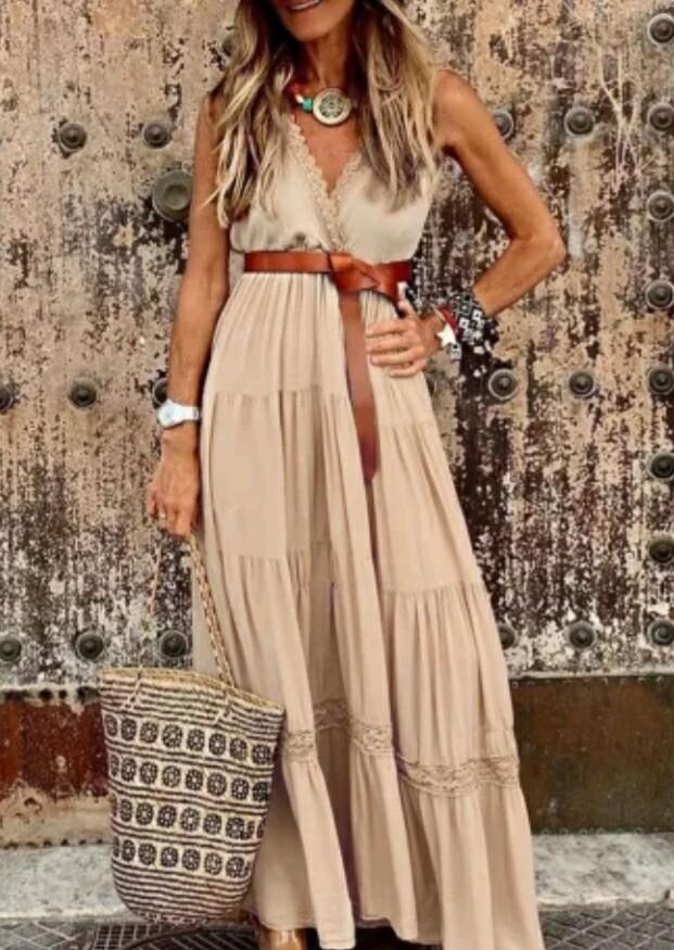 Khaki Lace Sleeveless Dress Size XL