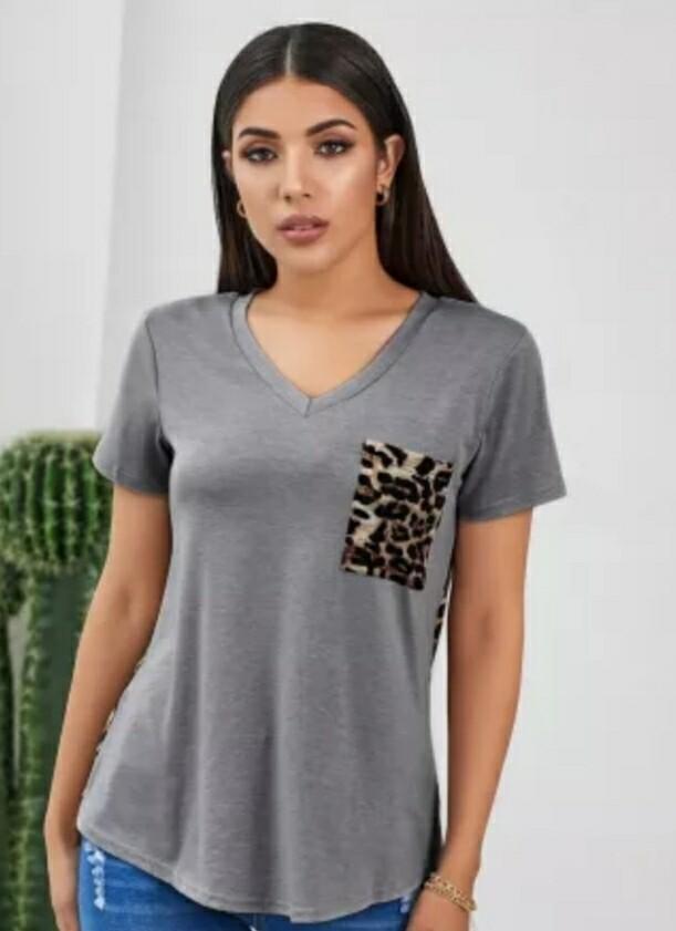 Gray & Leopard Shirt