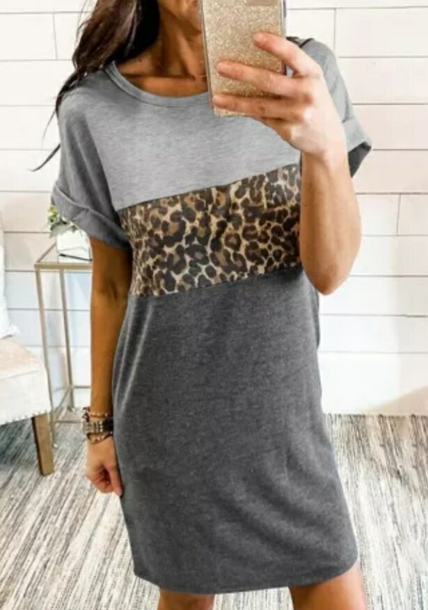 Gray & Leopard Color Block Mini Shirt Dress