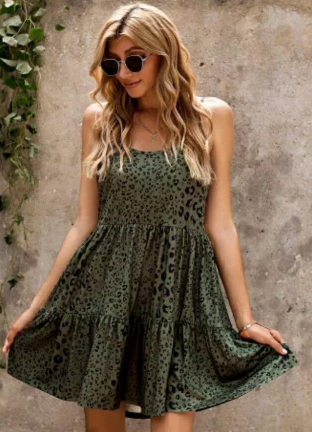 Olive & Leopard Baby Doll Dress