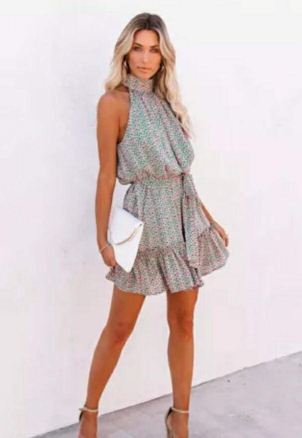 Green & Floral Mini Dress