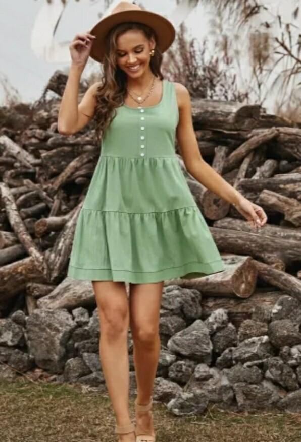 Green Ruffled Mini Dress
