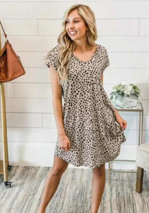 Khaki & Cheetah Pocketed Mini Dress