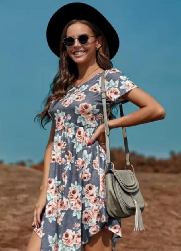 Gray & Floral Mini Dress