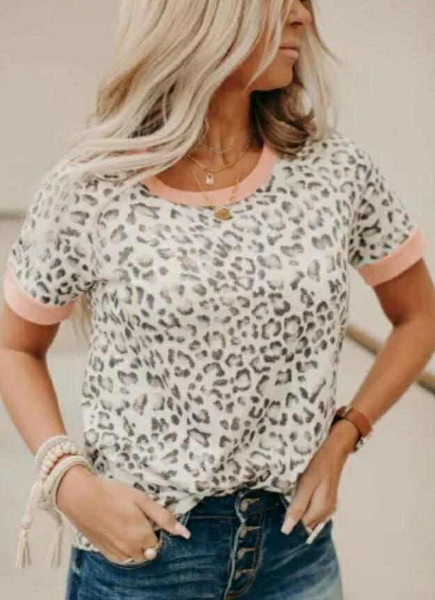 Pink Trim Leopard Shirt