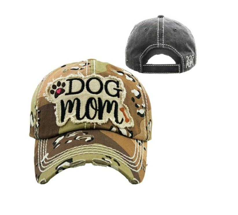 Distressed Camo Dog Mom Cap