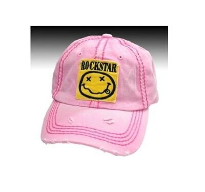 Distressed & Pink Rock Star Cap