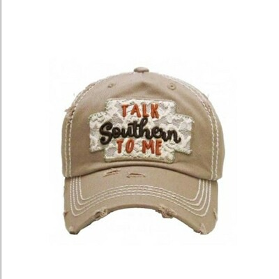 Distressed & Beige Talk Southern To Me Cap