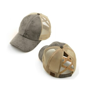 Taupe Pony Tail Cap