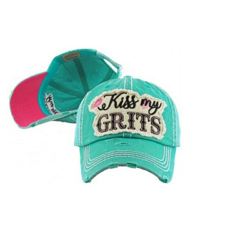 Distressed Turquoise Kiss My Grits Cap
