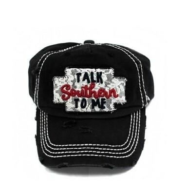 Distressed & Black Talk Southern To Me Cap