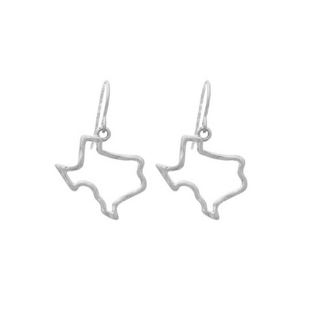 Silver Texas Hoop Earrings