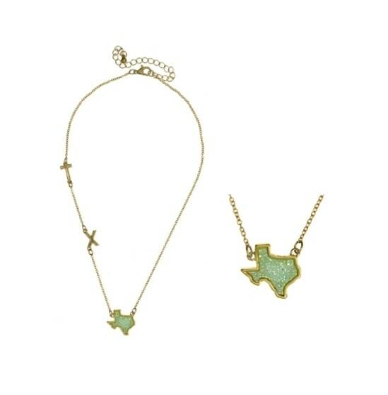 Green TX Texas Necklace