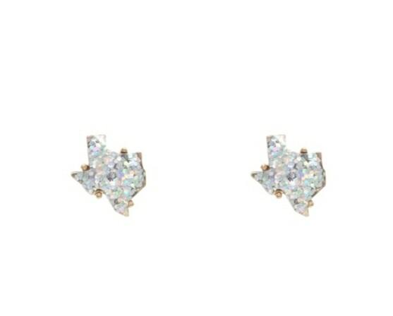 White Glitter Texas Earrings