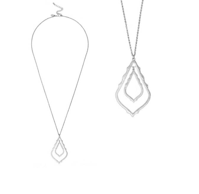 Big Tear Drop Silver Necklace