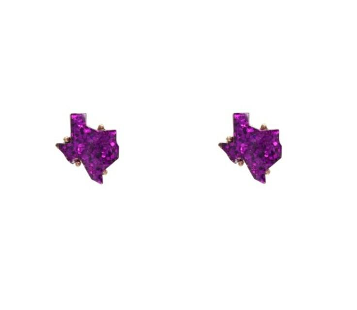 Purple Glitter Texas Earrings