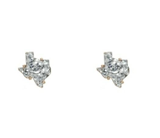 Silver Glitter Texas Earrings