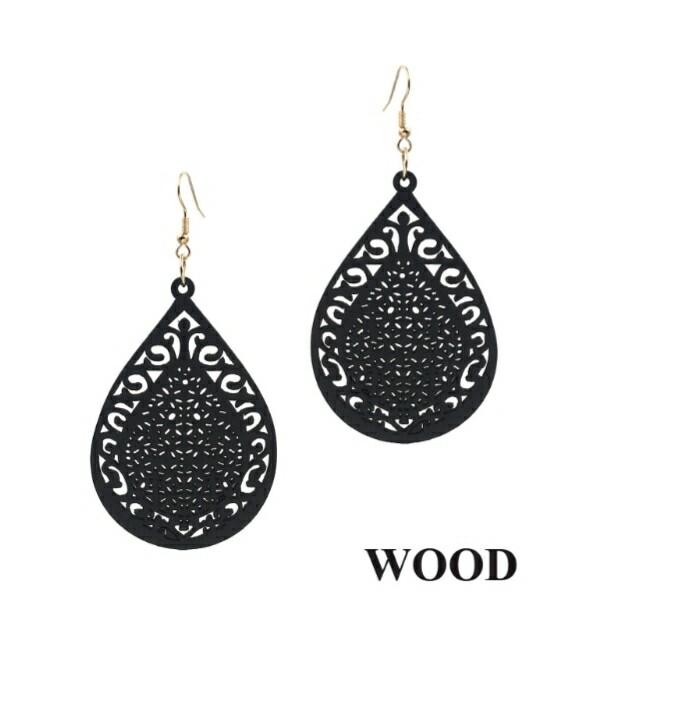 Black Wood Earrings