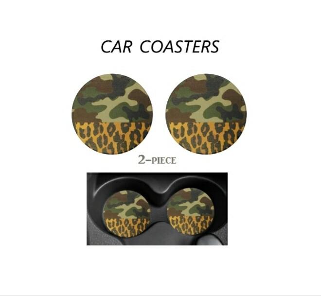 Camo & Leopard Car Coasters
