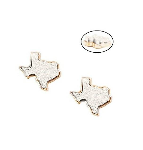 White Texas & Gold Trim Earrings