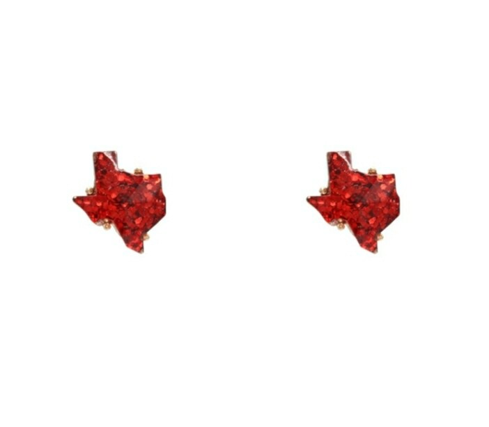 Red Glitter Texas Earrings
