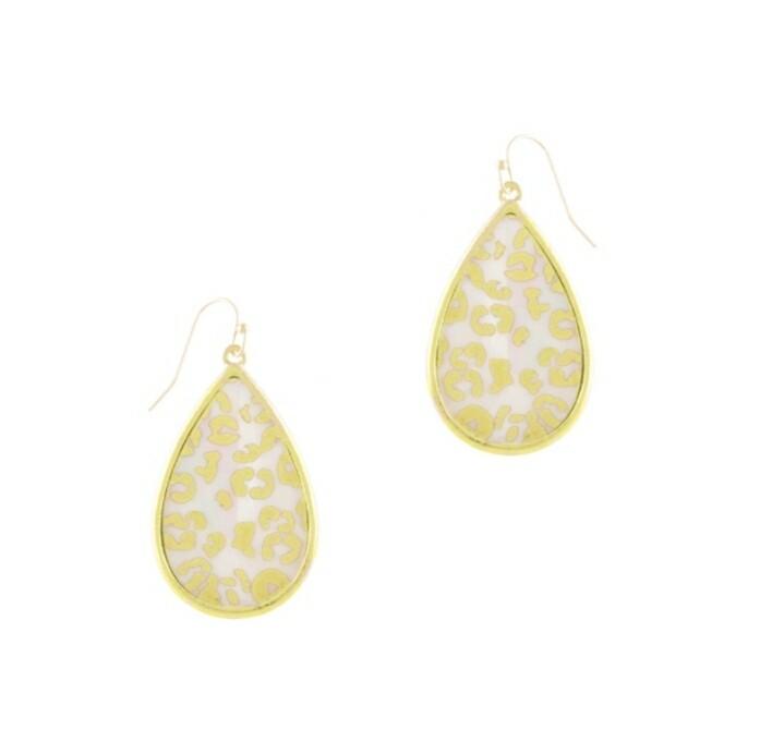 White & Leopard Teardrop Earrings