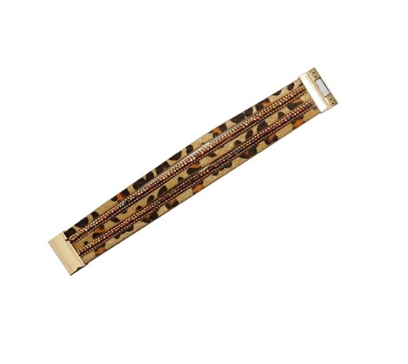 Brown Cheetah Magnetic Bracelet