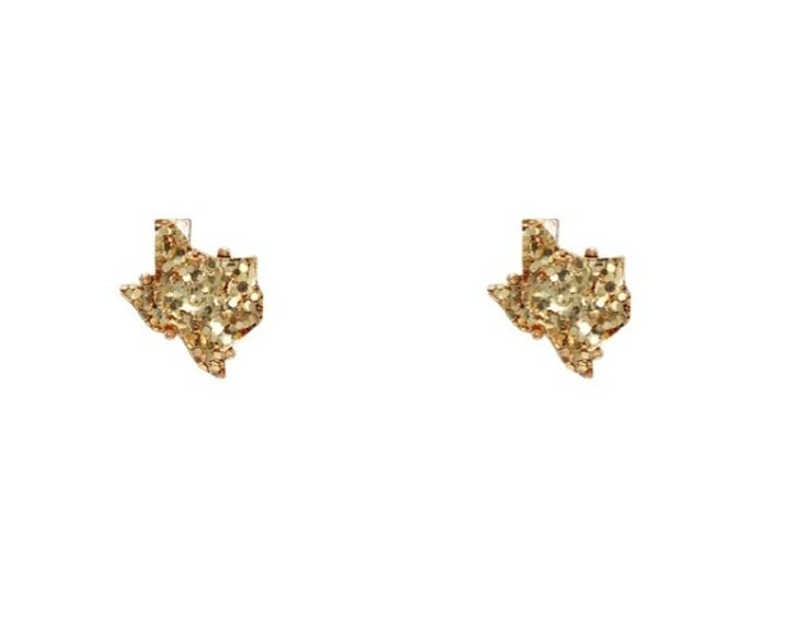 Yellow Glitter Texas Earrings