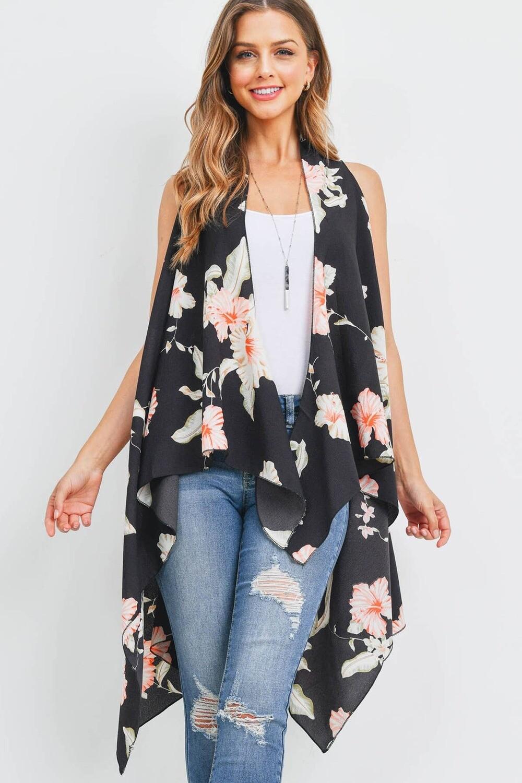 Floral Print Vest Cardigan