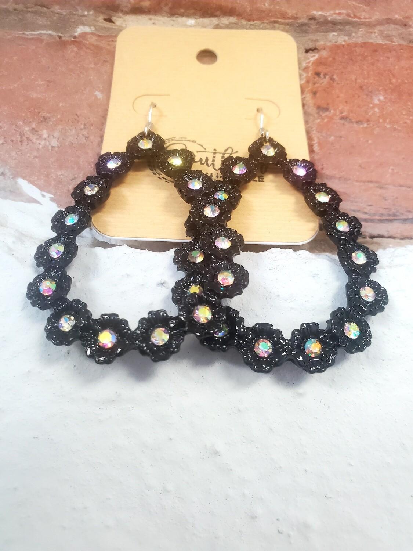 Black Flower Hoop Earrings