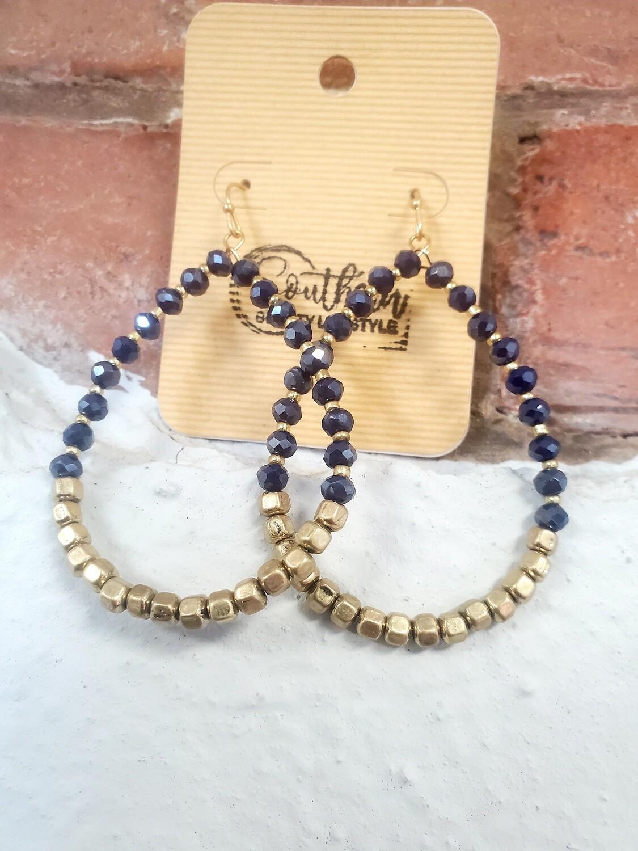 Blue/gold Hoop Bead Earrings