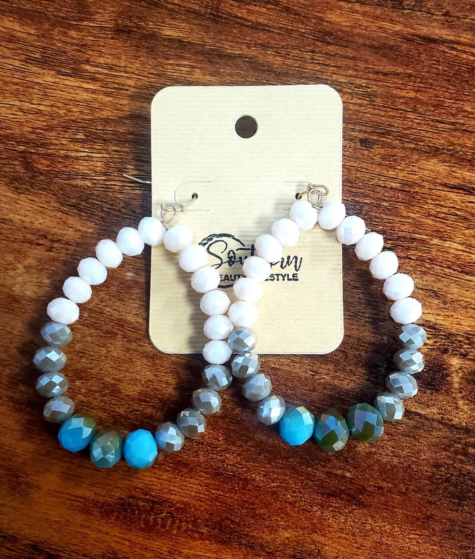 White Grey Turquoise earrings