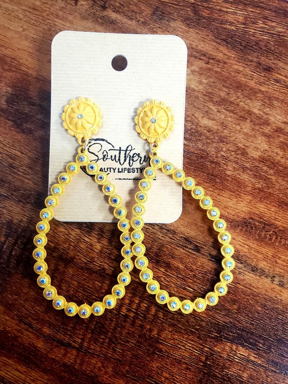 Yellow Stud Hoop Earrings