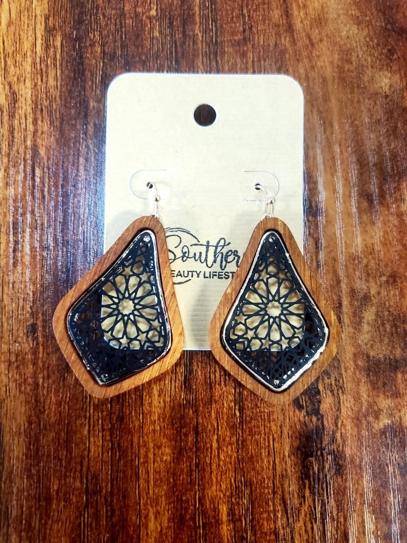 Wooden Black & Gold Earrings