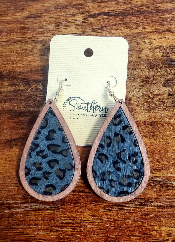 Wood Grey Leopard Teardrop Earrings