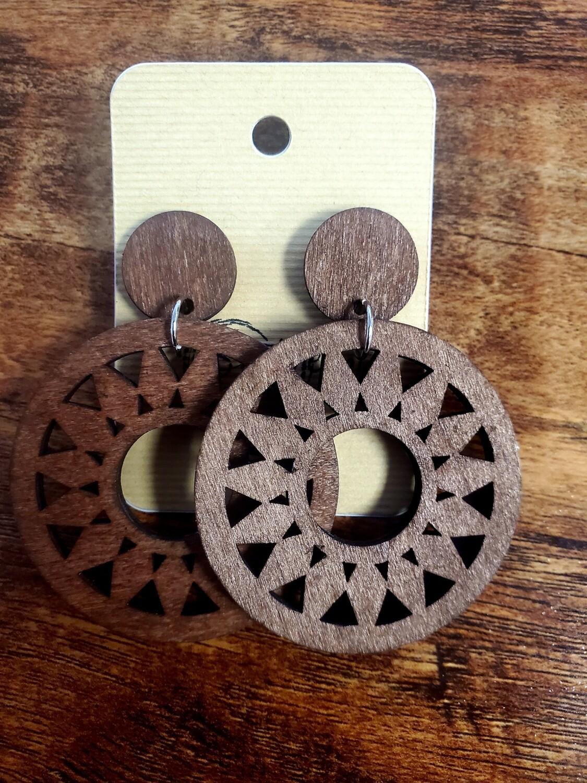 Wooden Brown Circle Earrings Medium