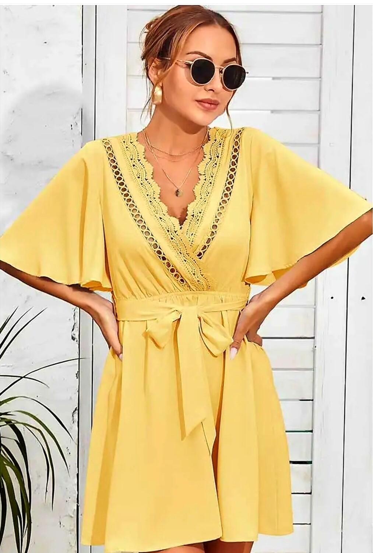 Yellow Crochet Neckline Dress