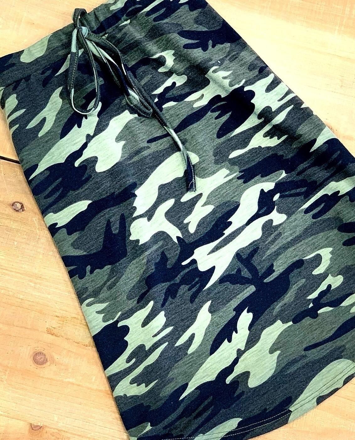 Tie Waist Camo Skirt