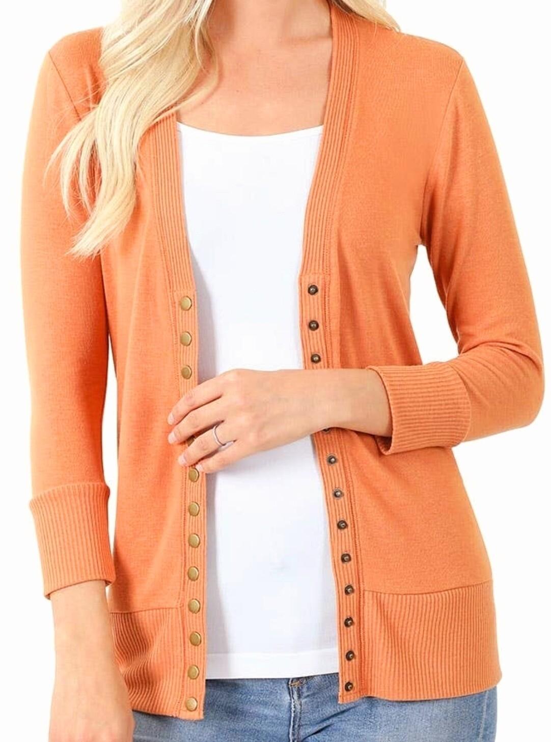 Orange Snap Button Cardigan