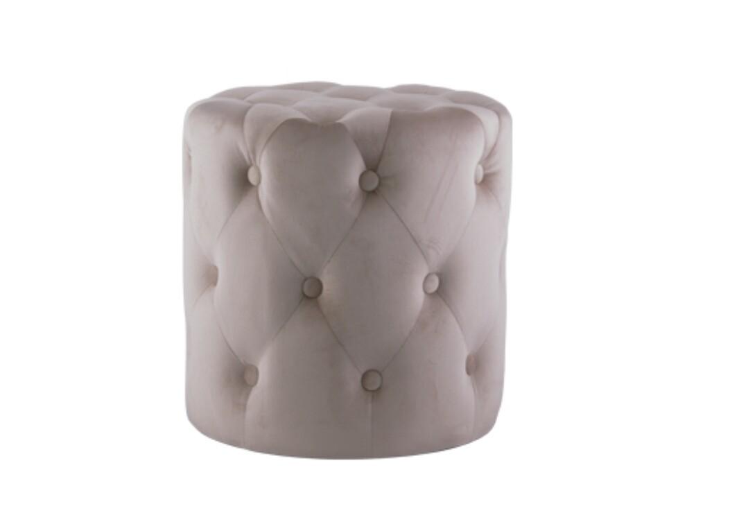 Beige Button Ottoman