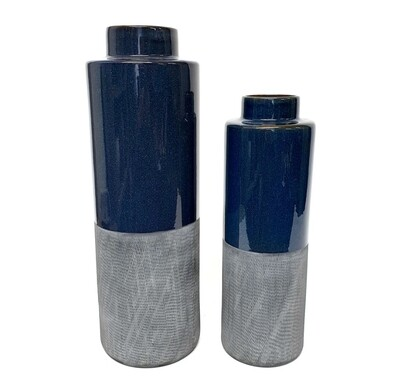Blue and Grey Tall Vases