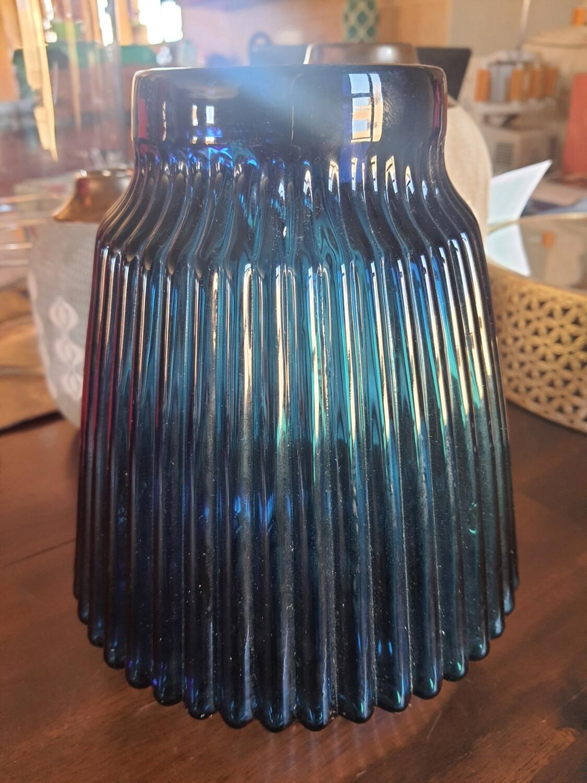 Ribbed Blue Vase