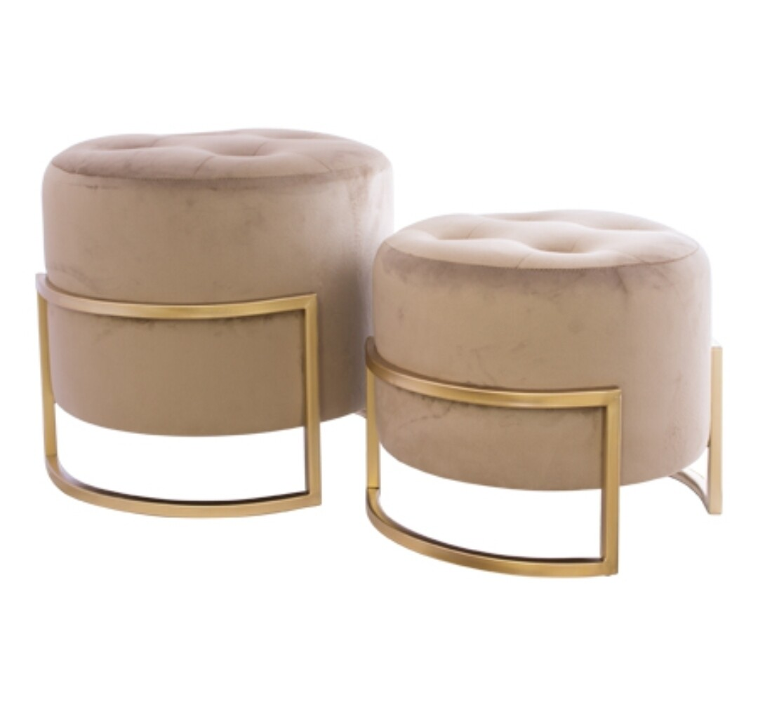 Mink Ottomans with Gold