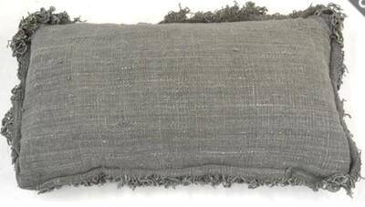 Grey Long Fringe Cushion